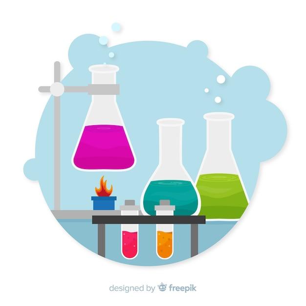 Fundo de elementos de química plana Vetor grátis
