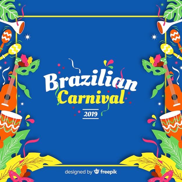 Fundo de elementos do carnaval brasileiro Vetor grátis