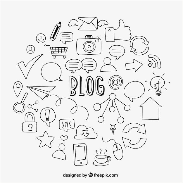 Fundo de elementos esboços de blog Vetor grátis