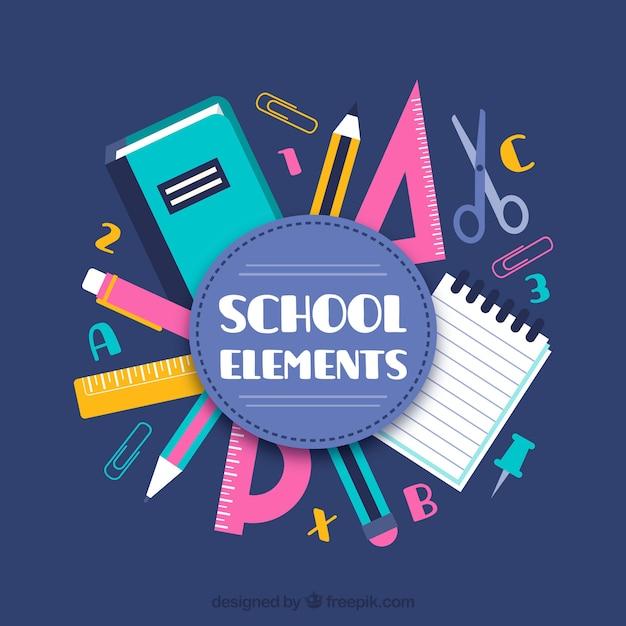 Fundo de elementos escolares em estilo plano Vetor grátis