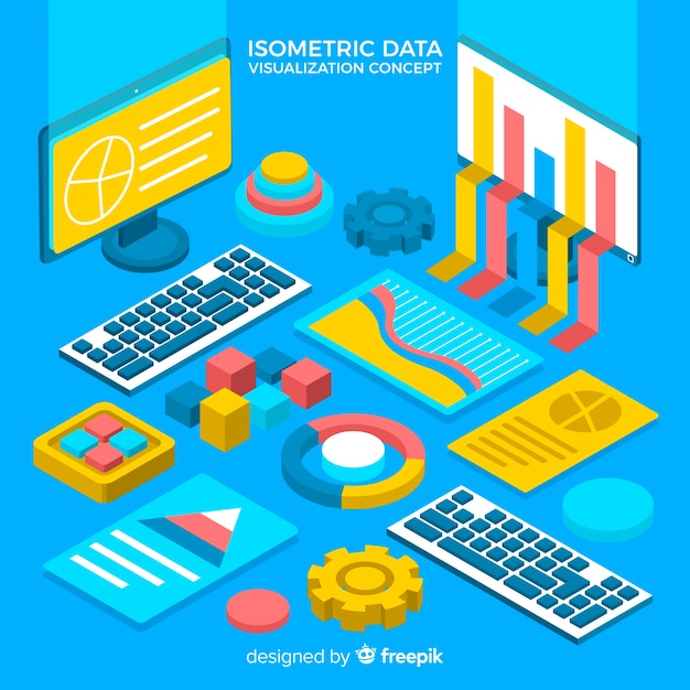 Fundo de elementos isométricos de visualização de dados Vetor grátis