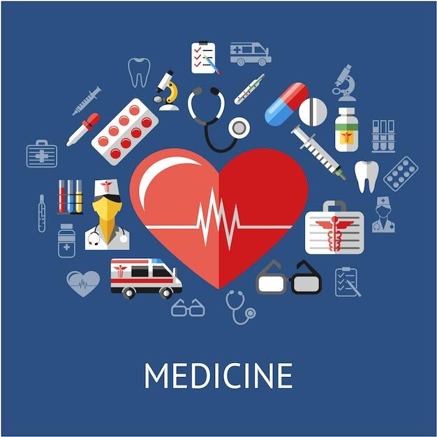 Fundo de elementos medicinais Vetor grátis