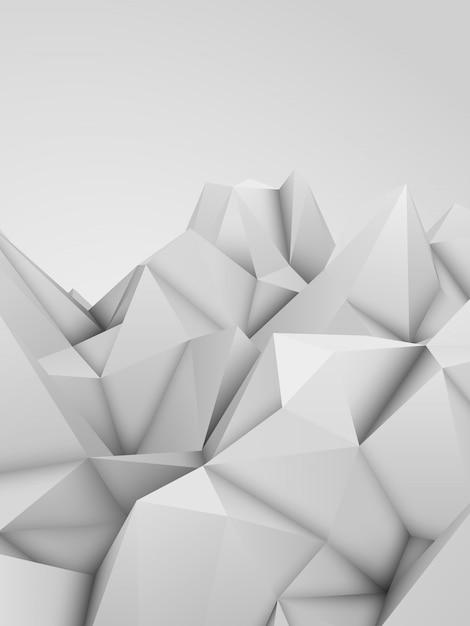 Fundo de elevação de mosaico triangular triangular poligonal abstrato baixo branco Vetor Premium