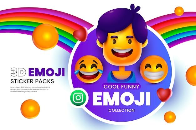 Fundo de emojis 3d com carinhas Vetor grátis