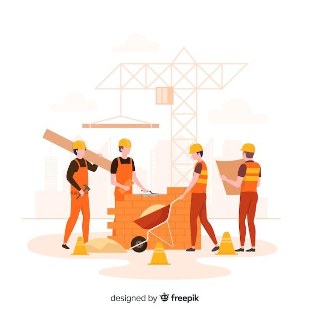 Fundo de engenharia de construção plana Vetor grátis