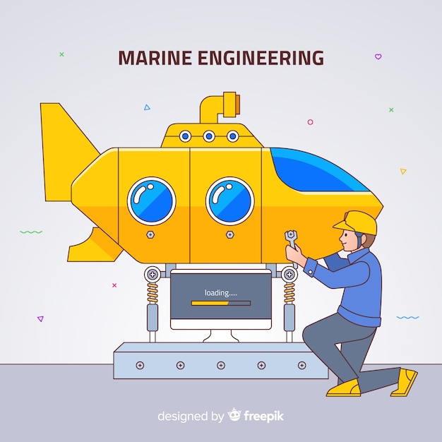 Fundo de engenharia naval plana Vetor grátis