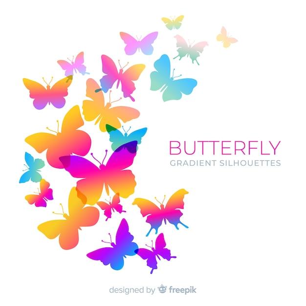 Fundo de enxame de silhueta de borboleta gradiente Vetor grátis