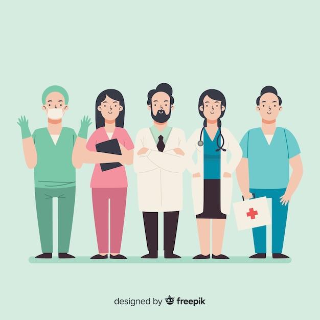Fundo de equipe de enfermeira de mão desenhada Vetor grátis