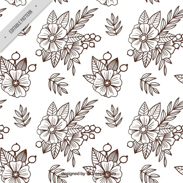 Fundo de esboços das flores no estilo do batik Vetor grátis
