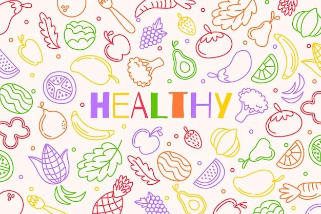 Fundo de esboços de frutas e legumes Vetor Premium
