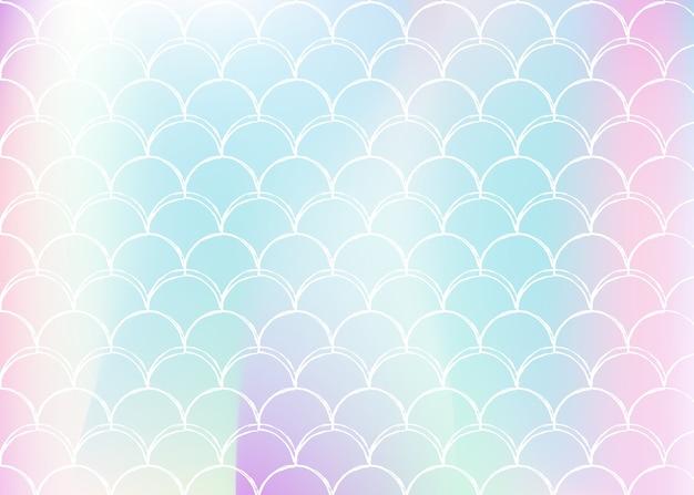 Fundo de escala gradiente com sereia holográfica. Vetor Premium