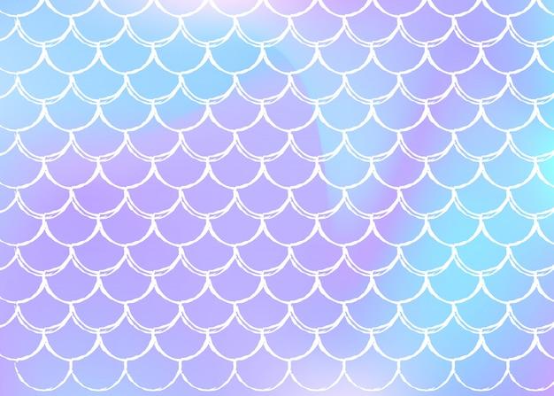 Fundo de escala holográfica com sereia gradiente. Vetor Premium