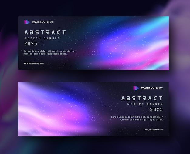 Fundo de espaço abstrato banner gradiente Vetor Premium