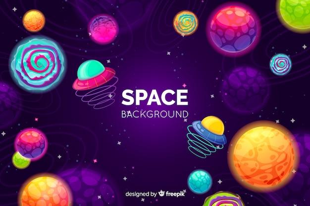 Fundo de espaço colorido de mão desenhada Vetor grátis