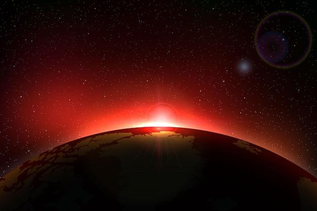 Fundo de espaço com eclipse solar total para seu projeto Vetor Premium