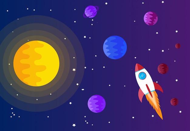 Fundo de espaço com sol, planeta e estrela Vetor Premium
