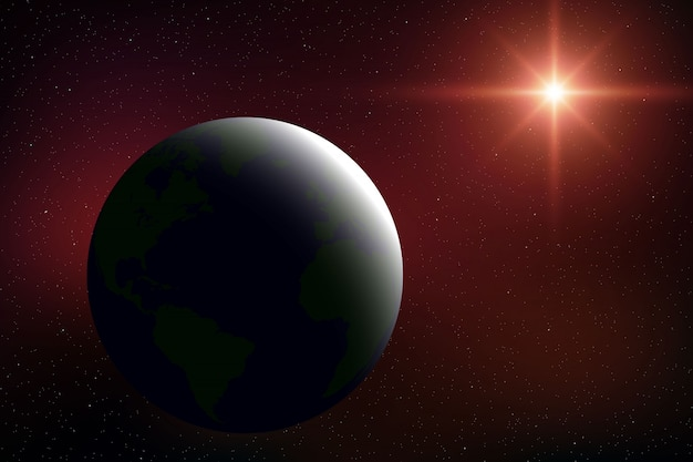 Fundo de espaço realista com o planeta terra no universo Vetor Premium