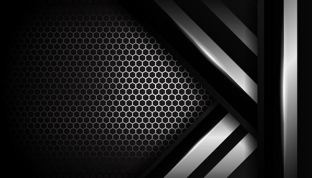 Fundo de esporte de luxo prata hexágono Vetor Premium