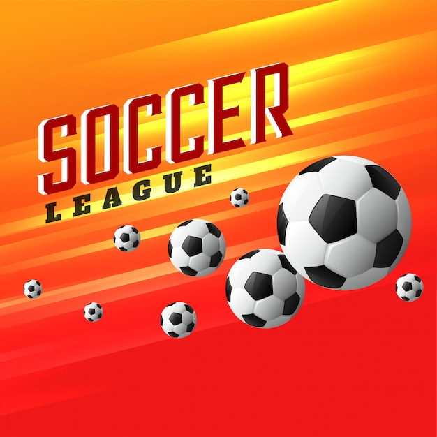 Fundo de esportes da liga de futebol com futebol a voar Vetor grátis