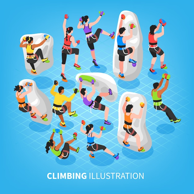 Fundo de esportes de escalada isométrico Vetor grátis