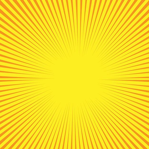 Fundo de estilo cômico retrô com raios de sol Vetor Premium