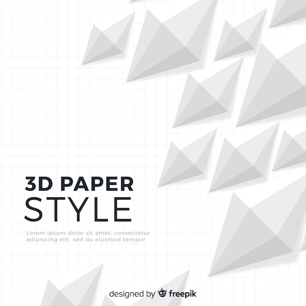 Fundo de estilo de papel 3d branco Vetor grátis