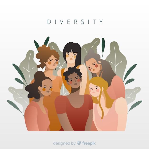 Fundo de estilo plano de conceito de diversidade Vetor grátis