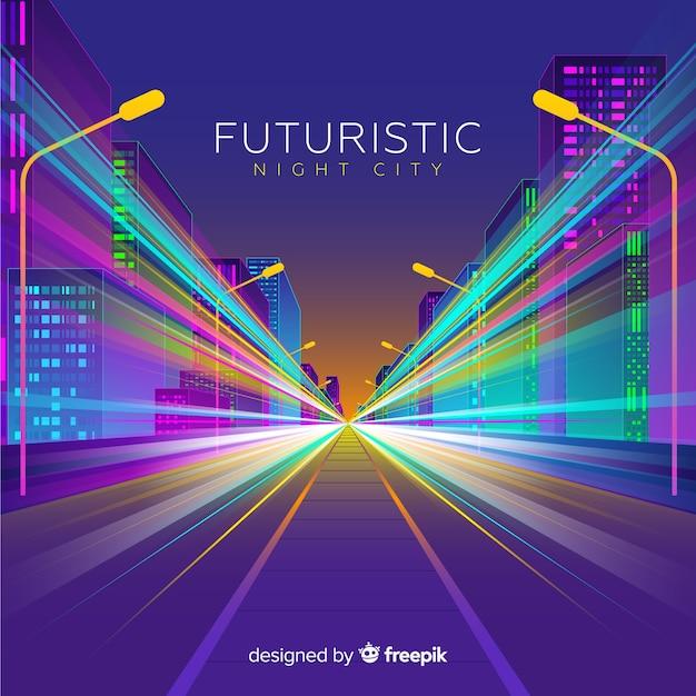 Fundo de estrada cidade futurista Vetor grátis