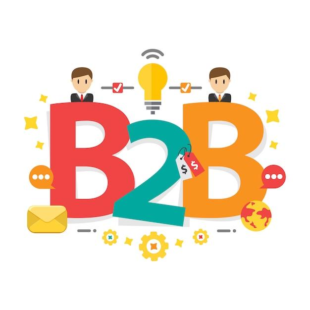 Fundo de estratégia de marketing b2b bem sucedido Vetor Premium