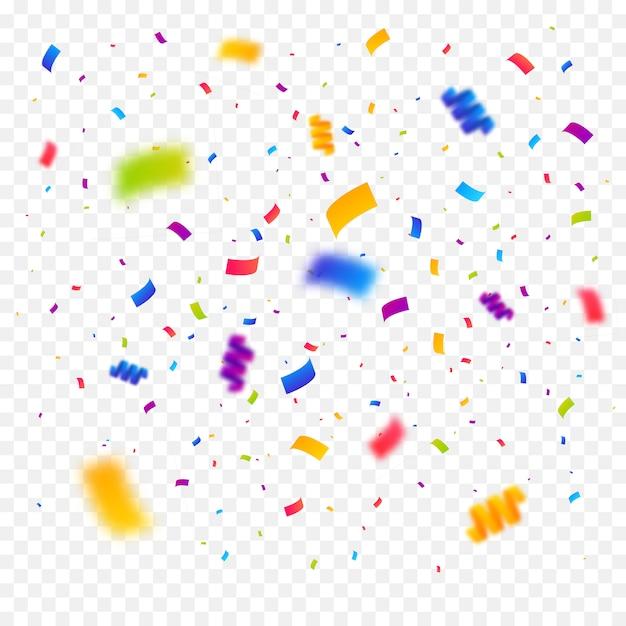 Fundo de explosão de confetes multicoloridos Vetor Premium