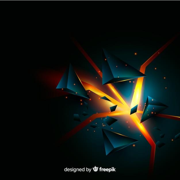 Fundo de explosão tridimensional com luz Vetor grátis