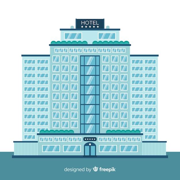 Fundo de fachada plana hotel Vetor grátis
