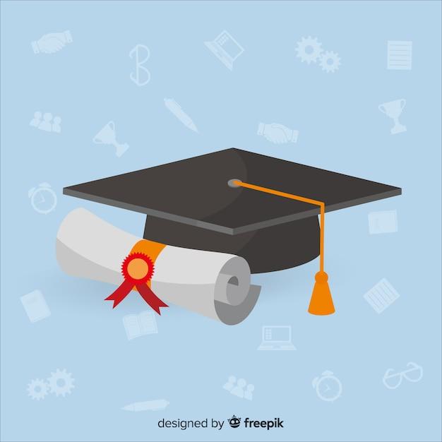 Fundo de faculdade com capelo Vetor grátis