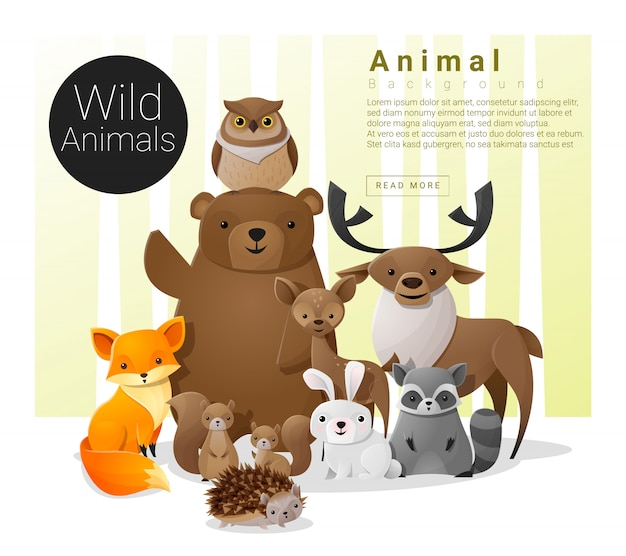 Fundo de família animal bonito com animais selvagens Vetor Premium