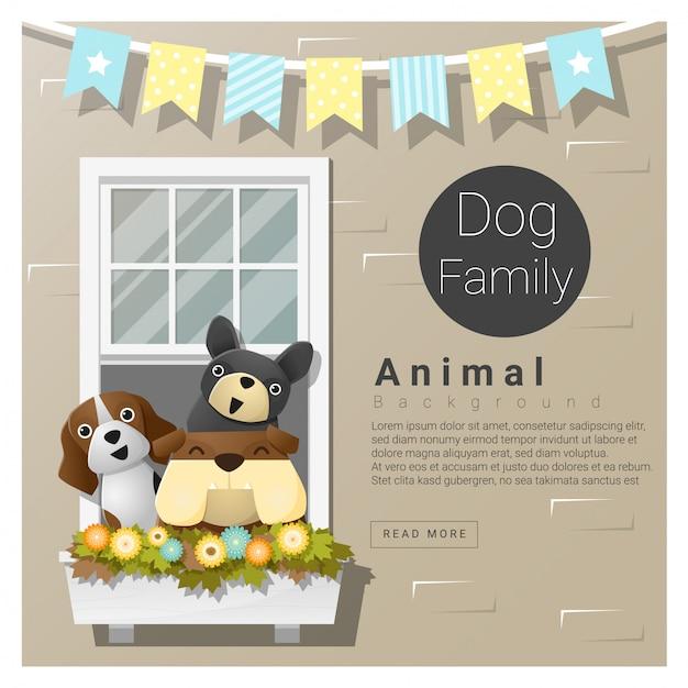 Fundo de família animal bonito com cães Vetor Premium