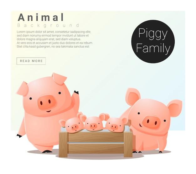 Fundo de família animal bonito com porcos Vetor Premium