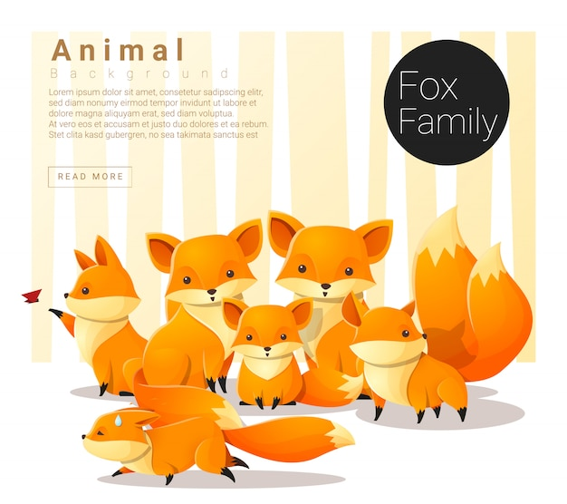 Fundo de família animal bonito com raposas Vetor Premium