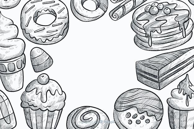 Fundo de fast-food de mão desenhada Vetor grátis