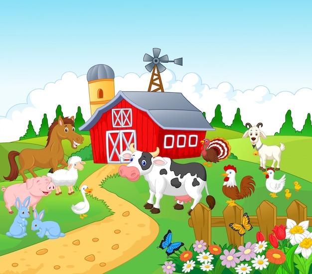 Fundo de fazenda com animais Vetor Premium