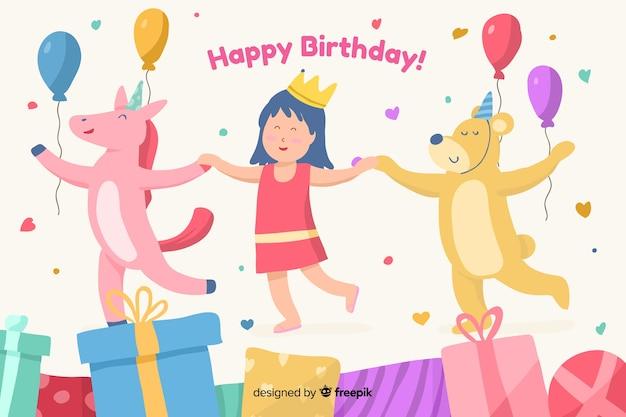 Fundo de feliz aniversário com ilustração bonitinha Vetor grátis