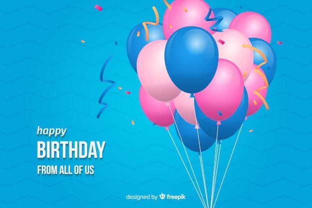 Fundo de feliz aniversário design plano Vetor grátis