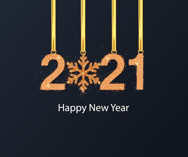 Fundo de feliz ano novo com floco de neve dourado Vetor Premium