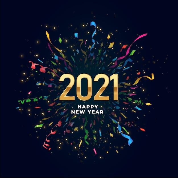 Fundo de feliz ano novo de 2021 com explosão de confete Vetor grátis