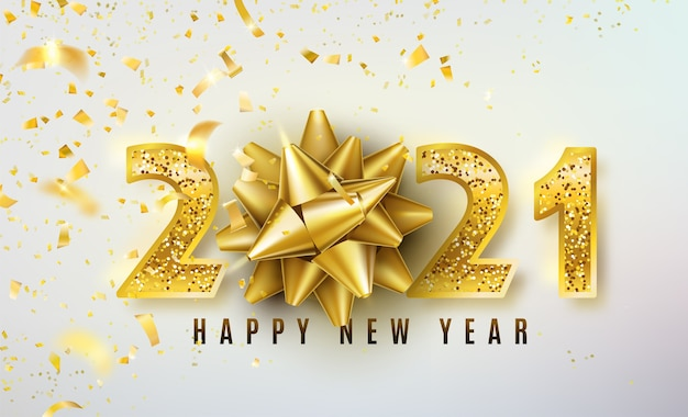 Fundo de feliz ano novo de 2021 com laço dourado para presente, confete e números de ouro com glitter brilhantes Vetor grátis