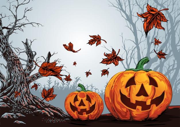 Fundo de feliz dia das bruxas, floresta assustadora de halloween com fundo de abóbora Vetor Premium