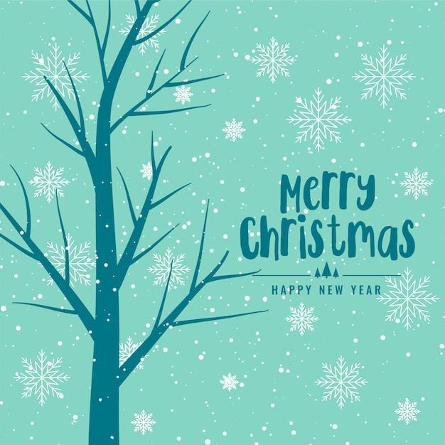 Fundo de feliz natal com árvore e flocos de neve Vetor grátis