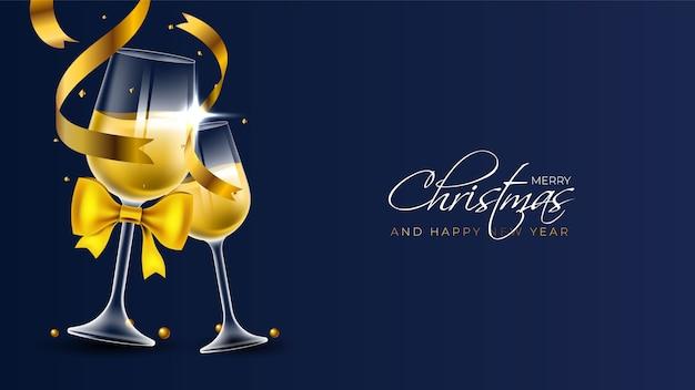 Fundo de feliz natal com duas taças de champanhe Vetor grátis