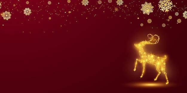Fundo de feliz natal e feliz ano novo. modelo de plano de fundo de celebração com bokeh de veado. cartão rico de saudação de luxo. Vetor Premium