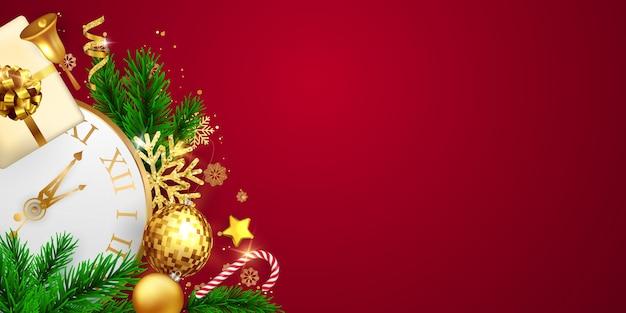 Fundo de feliz natal e feliz ano novo. modelo de plano de fundo de celebração com fitas. cartão rico de saudação de luxo. Vetor Premium