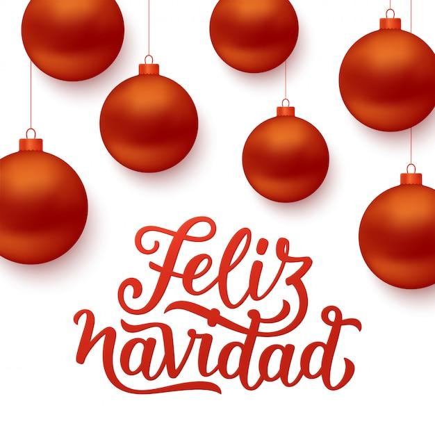Fundo de feliz navidad com bolas vermelhas de natal Vetor Premium